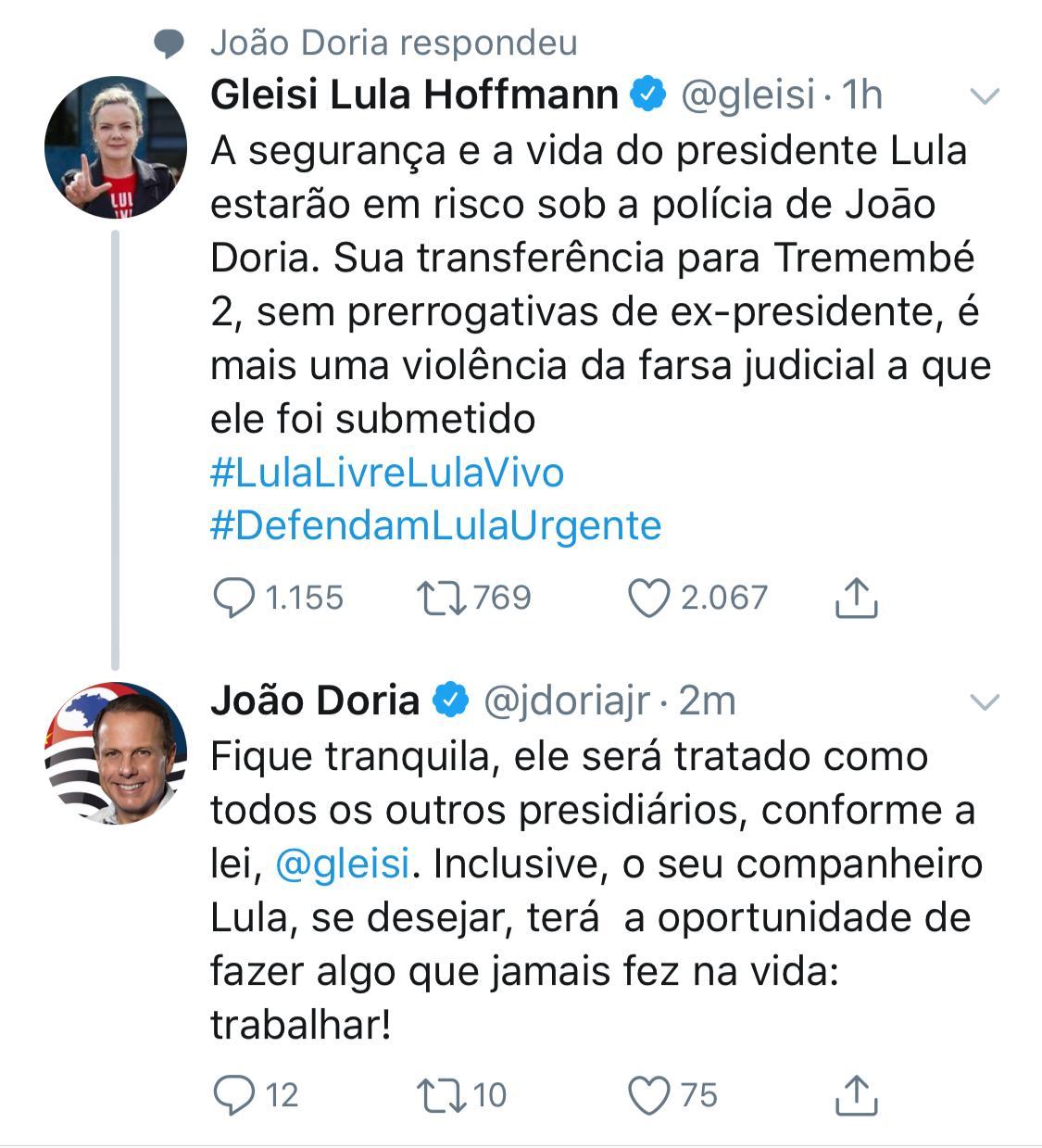 Gleosi Hoffman e Joao Doria
